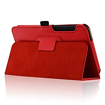 Acdream Asus Memo Pad 7 Lte Case, Premium Pu Leather Smart Cover Case For At&t Asus Memo Pad 7 Lte Gophone Prepaid Tablet Me375cl, Red 2
