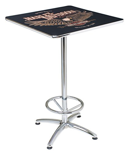 Table Harley Davidson - Harley-Davidson Bar & Shield Eagle Square Cafe Table, Durable & Chrome HDL-12327