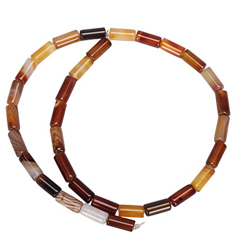 AAA Natural Yellow Brown Stripe Agate Gemstone 6x12mm Round Tube Loose Beads 15.5