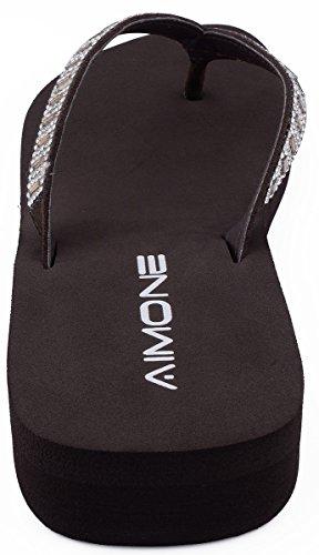 Pantofole Da Donna Flip Flop In Cristallo Color Blu Scuro