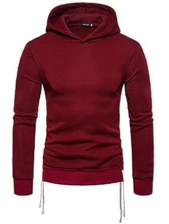 Mens Longsleeve Sweatshirt Jumper Hoodie Sweatshirt Pullover Tops Sport Outwear Wine Red M