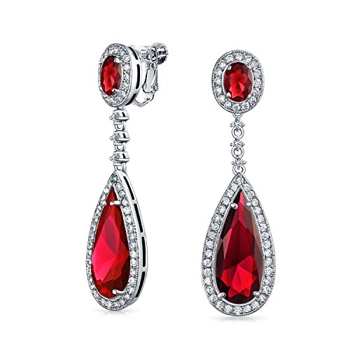 Red Long Teardrop Cubic Zirconia Dangle Pageant Statement CZ Screw Clip On Earrings Simulated Ruby Silver Plated Brass