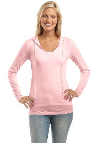 District Threads Ladies Tissue Slub Hooded Sweatshirt, 4XL, Light Pink