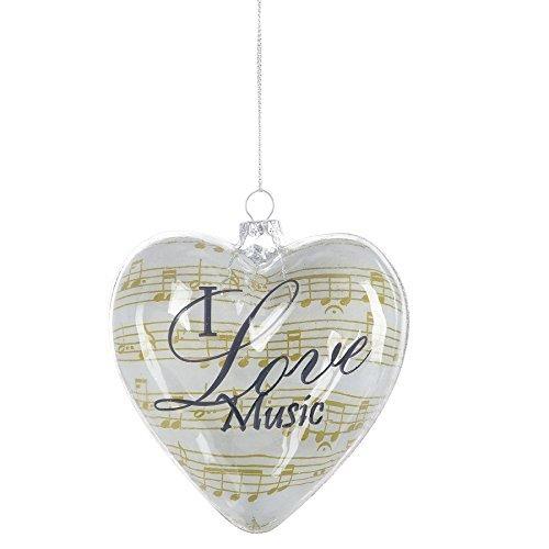 I Love Music Heart Shaped Glass Christmas Ornament Figurine ()