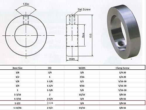 1-1//2 Bore Solid Steel Zinc Plated Shaft Collars Set Screw Style 4 PCS