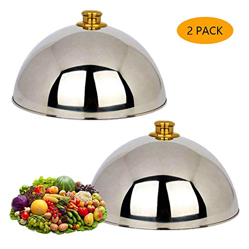 Stainless Steel Cheese Melting Dome and Steaming Cover Wok Cove Round Basting Cover Polished Steak Cover Cloche Serving Dish Food Cover Signature Griddle -