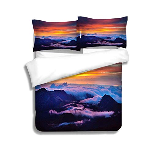 VROSELV-HOME Bedspread Set Queen Size,Haleakala National Park Crater Sunrise in Maui Hawaii,Soft,Breathable,Hypoallergenic,Kids Bedding-Does Not Shrink or Wrinkle
