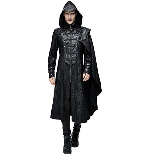 Devil Fashion Assassin's Creed Black Leather Gothic Military Cloak Coat for Men (X-Large)]()