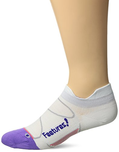 Feetures! Men's Elite Ultra Light No Show Tab, White + Iris, Medium