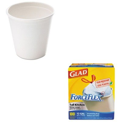 KITCOX70427SVAL051 - Value Kit - NatureHouse Bagasse Cup (SVAL051) and Glad ForceFlex Tall-Kitchen Drawstring Bags (COX70427)