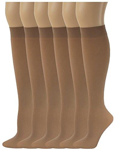(Sumona 6 Pairs Women Opaque Spandex Knee High Trouser socks (9-11, Beige))