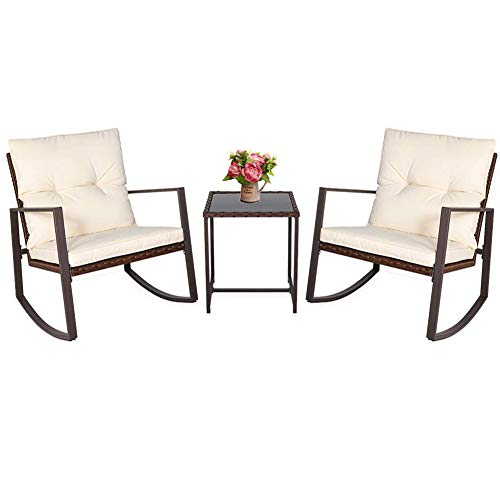 BonusAll 3 Pieces Outdoor Patio Set Rocking Chair Wicker Patio Furniture Sets Rocking Bistro Set Rattan Chair Conversation Sets with Coffee Table Beige Cushion