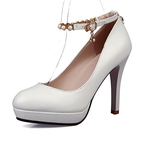 Amoonyfashion Femmes Bout Rond Chaussures À Talons Hauts Fermé-orteil Avec Des Paillettes Blanc