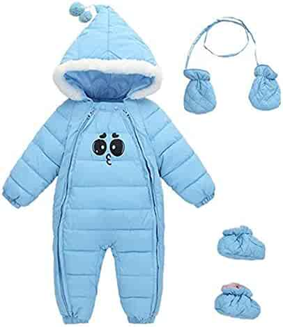 ff9fb74ec Ohrwurm Baby Winter One Piece Snowsuit with Hood Gloves Zipped Toddler  Padded Sleepsuit