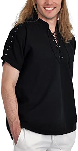 Elbenwald Camisa Medieval Hombre Manga Corta Soporte hasta Cuello algodón de Cordones Negro Negro Negro Medium: Amazon.es: Ropa y accesorios