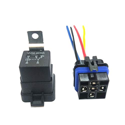 difcuyg5Ozw 12V 40A 5-Pins SPDT Waterproof Automotive Relay with Wires & Harness Socket Portable Easy Install- Black