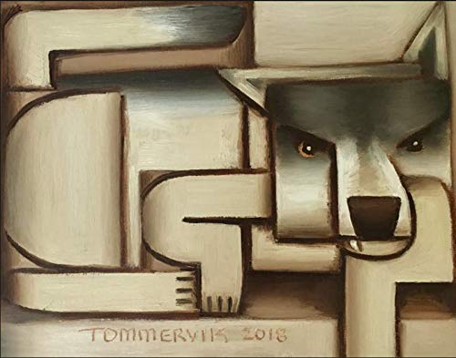 Amazon Com Tommervik Abstract Lone Wolf Painting Wolves