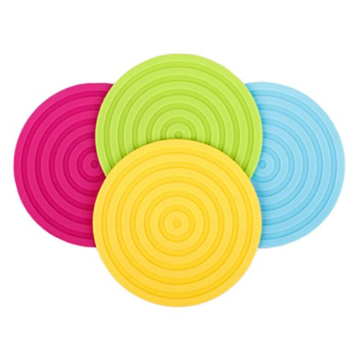 4PCS Multifunctional Anti-slip Cup Mat Hot Pad Coaster, Circle, Randomly