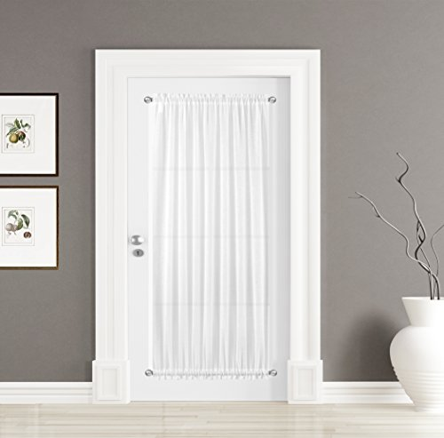 BETTER HOME USA BHU Linen Textured Sheer French Door Curtains, 60W by 72L Inches, Sheer White, 1 Panel, One Tieback Included (Back Tie Panel Door)