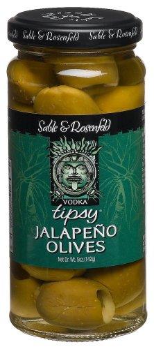 Sable & Rosenfeld Vodka Kicked Jalapeno Tipsy Olives, 5-Ounce Glass Jars (Pack of 6) by Sable & Rosenfeld