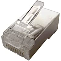 Shaxon Modular Plug, RJ45 8P8c, for Cat6 Round Shielded Stranded Cable, 100 Pack (ULMP6RSTS-88-100B)