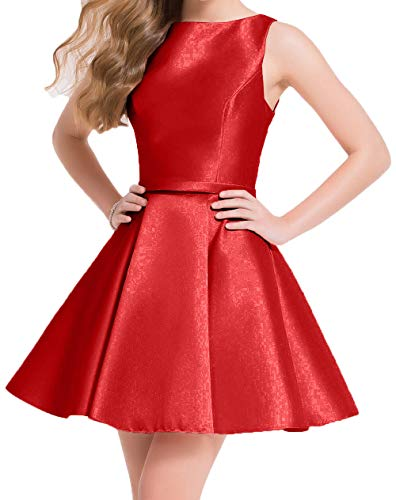 Charmant Partykleider Festlichkleider Damen Cocktailkleider Mini Tanzenkleider Abendkleider Rot Kurzes Satin XAPxXr