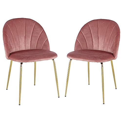 Modern Dining Chair Set of 2 with Iron Tube Golden Legs, Velvet Cushions and Comfortable Backrest, Suitable for Dining Room, Living Room, Cafe, Simple Structure, Easy Installation. Pink