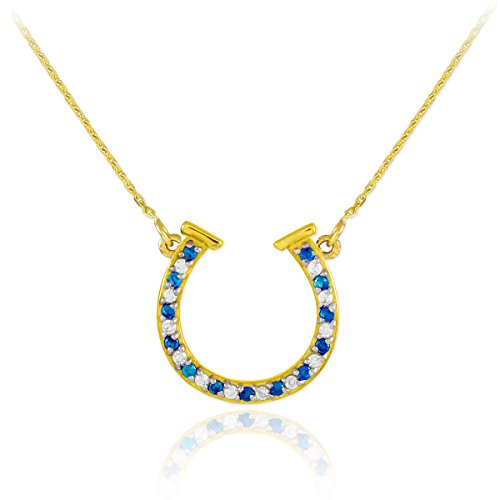(14k Gold Diamond & Blue Sapphire Good Luck Horseshoe Necklace (22 Inches))