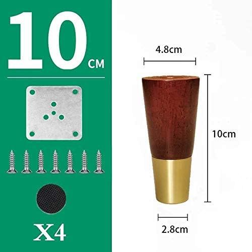 GCX- テーブルと椅子の足4×ソリッドウッドソファ足の支持脚テレビキャビネットの足の浴室キャビネットの足家具メタルフィートアクセサリー 滑り止め (Color : Walnut Color, Size : 10cm)