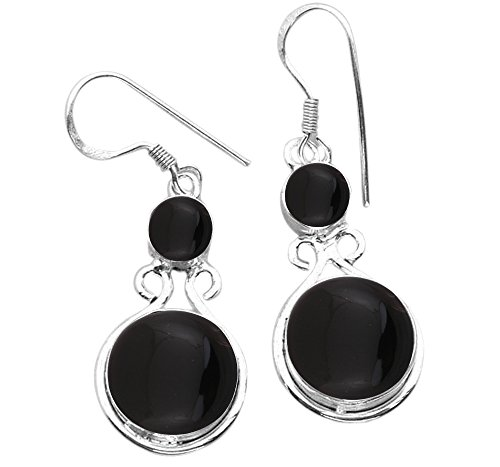 15.00ctw, Genuine Black Onyx & 925 Silver Plated Dangle Earrings Made By Sterling Silver (2 Dangle Earrings Jewelry)