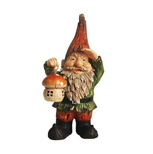NORTHLIGHT AG36997 Forest Gnome Holding a Mushroom Lantern Solar Powered LED Lighted Outdoor Patio Statue
