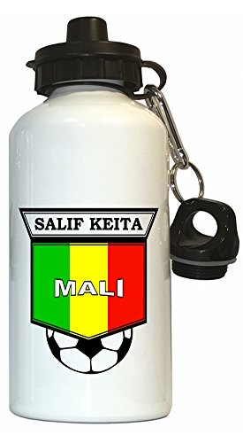 Salif Keita (Mali) Soccer Water Bottle White (Best Of Salif Keita)