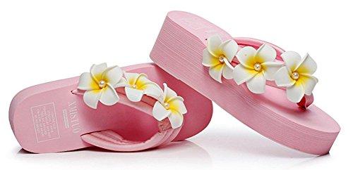 Sfnld Womens Leuke Zomer Bloem Flip Flop Thong Sleehak Beach Platform Sandalen Roze