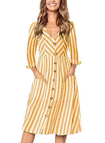 Hanglin Trade Women's Long Sleeve Striped V Neck Button Down Casual Midi Dress with Pockets(Yellow Small) (Best Maid Salad Dressing)