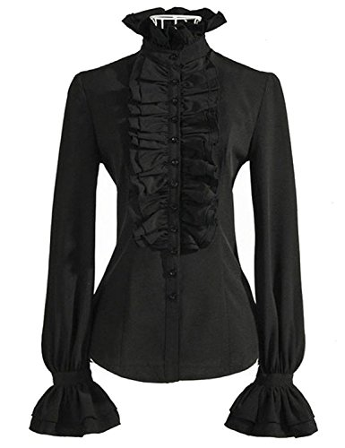 DEARCASE Women's Vintage Ruffle Long Sleeve Shirt Blouse Tops Black XL ()