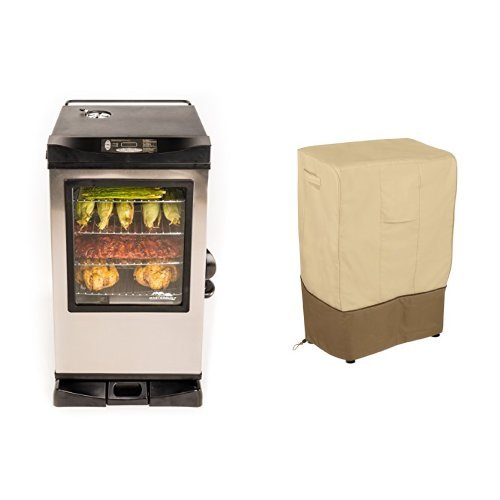 Masterbuilt 20077515 Front Controller Electric Smoker With Window And Rf Controller  30 Inch With Classic Accessories Cover