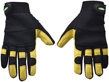 AMAZACER カット耐性裏地手袋を溶接、優れたゴートスキンレザー、MIG/TIG溶接機、アークフラッシュ、安全作業手袋、2pair (Size : 1pair)