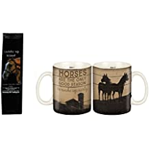 Horses are the Only Good Reason to Wake Up Early 2-Sided Mug with Saddle Up German Chocolate Cake Coffee Gift Set Bundle (2 Items)