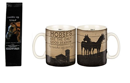 Horses are the Only Good Reason to Wake Up Early 2-Sided Coffee Mug with Saddle Up German Chocolate Cake Coffee Gift Set Bundle (2 Items) - Gift Set Cakes