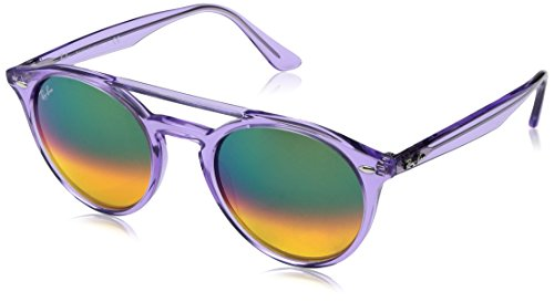 Ray-Ban Injected Unisex Non-Polarized Iridium Round Sunglasses, Violet, 51 - Bans Purple Ray