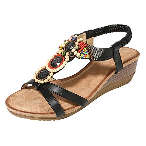 ◕‿◕ Watere◕‿◕ Comfort Sandals for Women,Women Ladies String Bead Casual Wedges Elastic Band Bohemian Beach Shoes Sandals Black