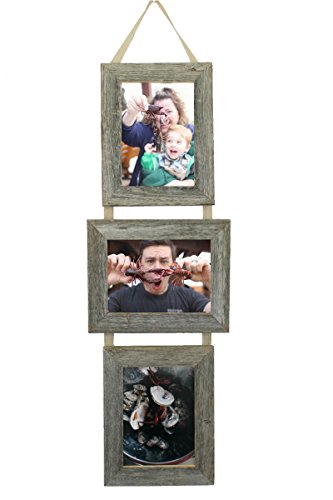 - My Barnwood Frames - 3, 5x7 Reclaimed Barn Wood Frames Hanging on Burlap Ribbon, USA Made (Portrait-Landscape-Portrait)
