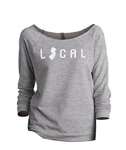 Thread Tank Local New Jersey State Women's Slouchy 3/4 Sleeves Raglan Sweatshirt Sport Grey - Gardens Stores New Jersey Jersey