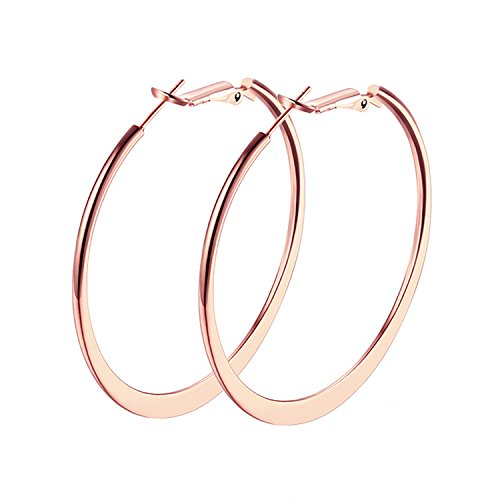 Hoop Earrings, Maxilei Stainless Steel 18K Gold Plated, Rose Gold Plated, Silver Plated Hoop Pierced Earrings for Women Girls (40mm, 46mm, 50mm)