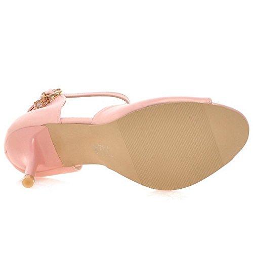 RAZAMAZA Mujer Moda Correa de tobillo Tacon Alto Sandalias Peep Toe Tacon de Aguja Zapatos Rosado