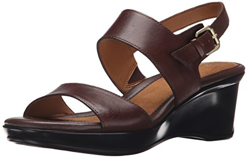 Naturalizer Women's Vibrant Wedge Sandal, Brown, 6.5 M US