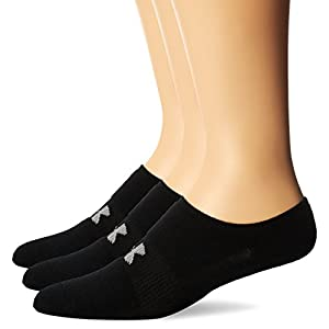 Under Armour Men's HeatGear Solo No-Show Socks (3 Pairs), Black, Large