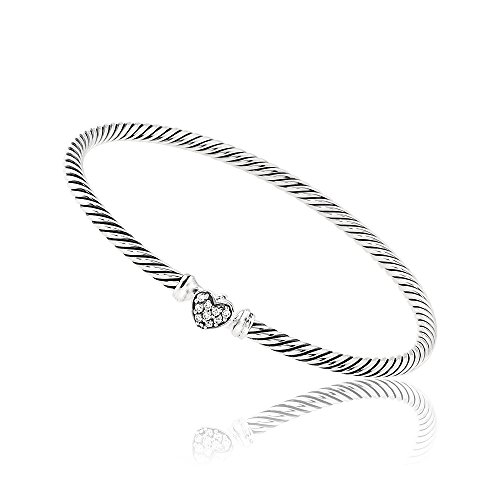 David Yurman Cable Collectibles Daimonds Heart Bracelet B09678SSADI