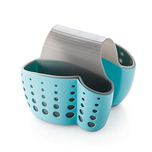 (Jujin Sink Saddle Caddy Sponge Soap Holder Flexible Plastic Organizer for Double Kitchen Sink Blue)