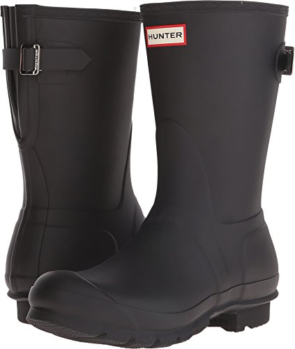 Hunter Women's Original Short Back Adjustable Rain Boots Black 10 M US M